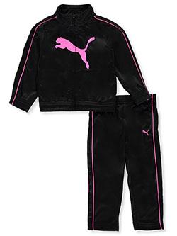 Contrast Piping 2-Piece Tracksuit Outfit by Puma in Black - Active Sets