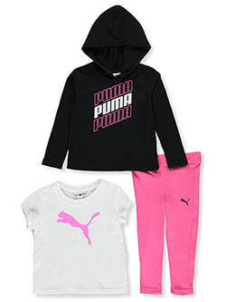 Italic Logo 3-Piece Leggings Set Outfit by Puma in Black