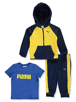 Contrast Panel 3-Piece Joggers Set Outfit by Puma in Yellow - Active Sets