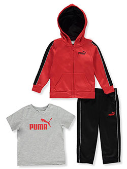 Piped Stripe 3-Piece Joggers Set Outfit by Puma in Red - Active Sets