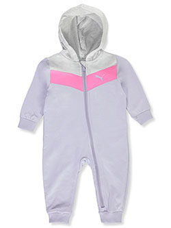 Baby Girls' Angle Panel Hooded Coverall by Puma in Purple