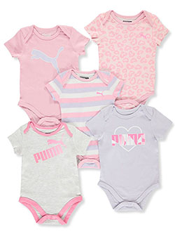 Baby Girls' Heart Medley 5-Pack Bodysuits by Puma in White