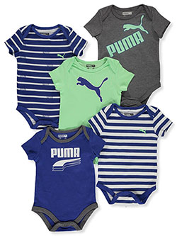 Baby Boys' Layer Logo 5-Pack Bodysuits by Puma in Black/gray