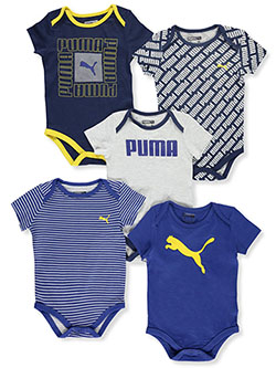 Baby Boys' Text Square 5-Pack Bodysuits by Puma in Blue, Infants