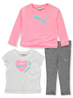 Girls 3-Piece Joggers Set Outfit by Puma in Pink, Infants