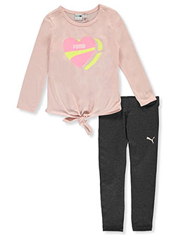 Girls' Heart 2-Piece Leggings Set Outfit by Puma in Pink