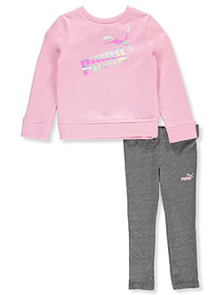 Girls' 2-Piece Leggings Set Outfit by Puma in Pink, Girls Fashion