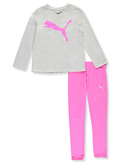 Girls' 2-Piece Leggings Set Outfit by Puma in White, Girls Fashion