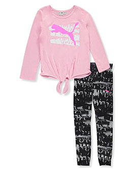 Girls' Stencil Logo 2-Piece Leggings Set by Puma in Pink