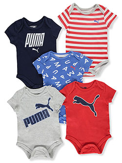 Baby Boys' 5-Pack Bodysuits by Puma in Gray