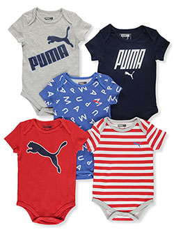 Baby Boys' 5-Pack Bodysuits by Puma in Gray - $24.00