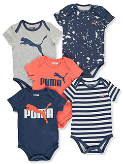 Baby Boys' 5-Pack Bodysuits by Puma in Coral