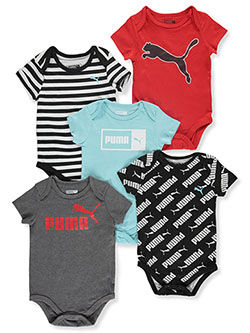 Baby Boys' 5-Pack Bodysuits by Puma in Charcoal gray - $24.00