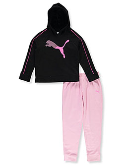 Girls' Split Logo 2-Piece Joggers Set by Puma in black and pink