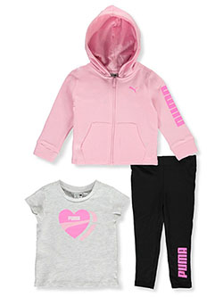 Heart Logo 3-Piece Leggings Set Outfit by Puma in Pink