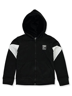 Boys' Mirror Logo Zip Hoodie by Puma in black and khaki