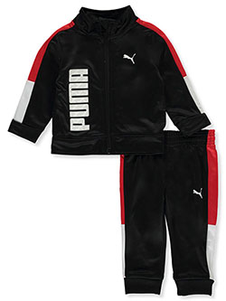 Vertical Logo Pieced 2-Piece Tracksuit Outfit by Puma in black and blue, Infants
