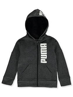 Boys' Logo Hood Zip Hoodie by Puma in black heather and light heather gray