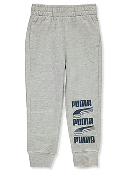 Boys' Stacked Logo Joggers by Puma in light heather gray and puma black