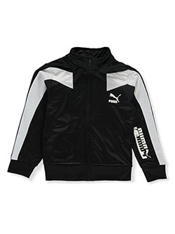 Boys' Paneled Tricot Track Jacket by Puma in black and red