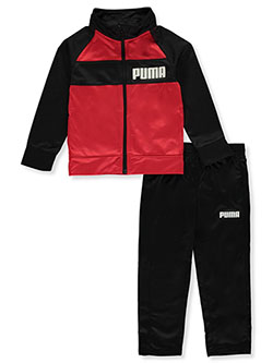 Boys' Chest Stripe 2-Piece Tracksuit by Puma in Red