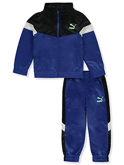 Boys' Tricolor Panel 2-Piece Tracksuit Outfit by Puma in Blue