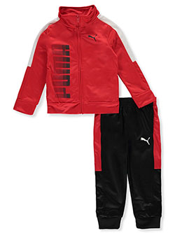 Boys' Ombre Logo 2-Piece Tracksuit Outfit by Puma in Red