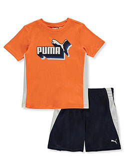 Boys' 2-Piece Shorts Set Outfit by Puma in Orange