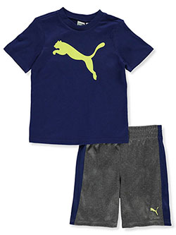 Boys' 2-Piece Shorts Set Outfit by Puma in blue and red