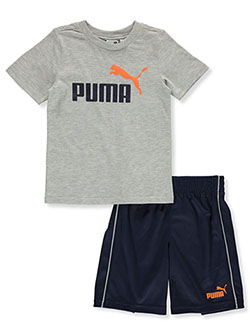 Boys' 2-Piece Shorts Set Outfit by Puma in gray and white