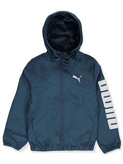 Boys' Hooded Windbreaker Jacket by Puma in blue, puma black and red