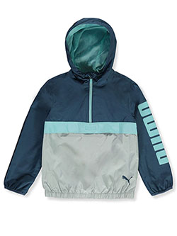 Boys' Hooded Zip Windbreaker Jacket by Puma in blue and castle rock