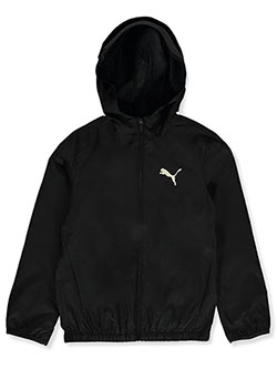 Boys' Camo Hooded Windbreaker Jacket by Puma in black and white