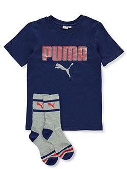 Boys' Box Logo T-Shirt And Socks 2-Piece Set by Puma in Blue