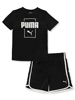 Boys' Box Logo 2-Piece Shorts Set Outfit by Puma in black and red