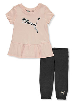 Girls' 2-Piece Capri Leggings Set Outfit by Puma in Pink, Girls Fashion