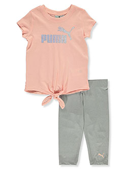 Girls' 2-Piece Capri Leggings Set Outfit by Puma in pink and white, Girls Fashion