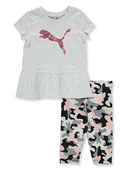 Girls' 2-Piece Capri Leggings Set Outfit by Puma in White, Girls Fashion