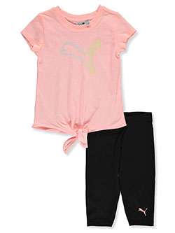 Girls' 2-Piece Capri Leggings Set Outfit by Puma in orange and white, Girls Fashion