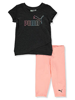 Girls' 2-Piece Capri Leggings Set Outfit by Puma in black and white, Girls Fashion