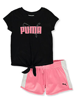Girls' 2-Piece Shorts Set Outfit by Puma in black, pink and white, Girls Fashion
