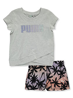 Girls' 2-Piece Shorts Set Outfit by Puma in White