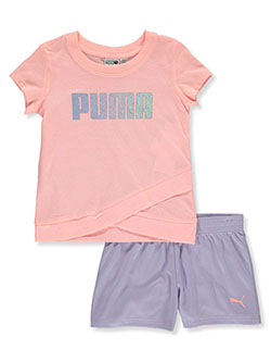 Girls' 2-Piece Shorts Set Outfit by Puma in Orange, Girls Fashion