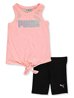 Girls' 2-Piece Bike Shorts Set Outfit by Puma in orange and white, Girls Fashion