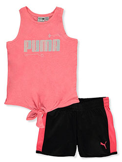 Girls' 2-Piece Shorts Set Outfit by Puma in Pink, Girls Fashion