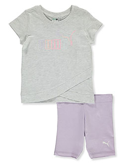 Girls' 2-Piece Bike Shorts Set Outfit by Puma in White, Girls Fashion
