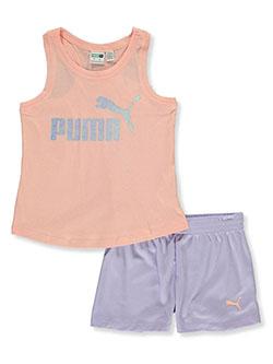 Girls' 2-Piece Shorts Set Outfit by Puma in pink and white, Girls Fashion