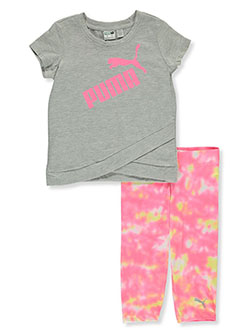Girls' 2-Piece Capri Leggings Set Outfit by Puma in Gray, Girls Fashion