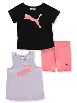 Girls' 3-Piece Bike Shorts Set Outfit by Puma in Black, Girls Fashion