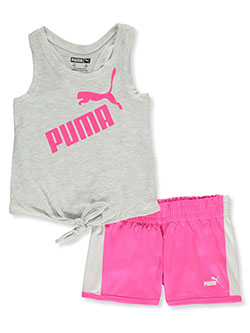 Girls' 2-Piece Shorts Set Outfit by Puma in White heather, Infants